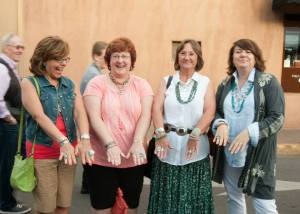Pictured, left to right: Wendy Cesca, Sara Davidson, Kathy Vigil, and Sue Sassin at the Santa Fe Indian Market 2014.